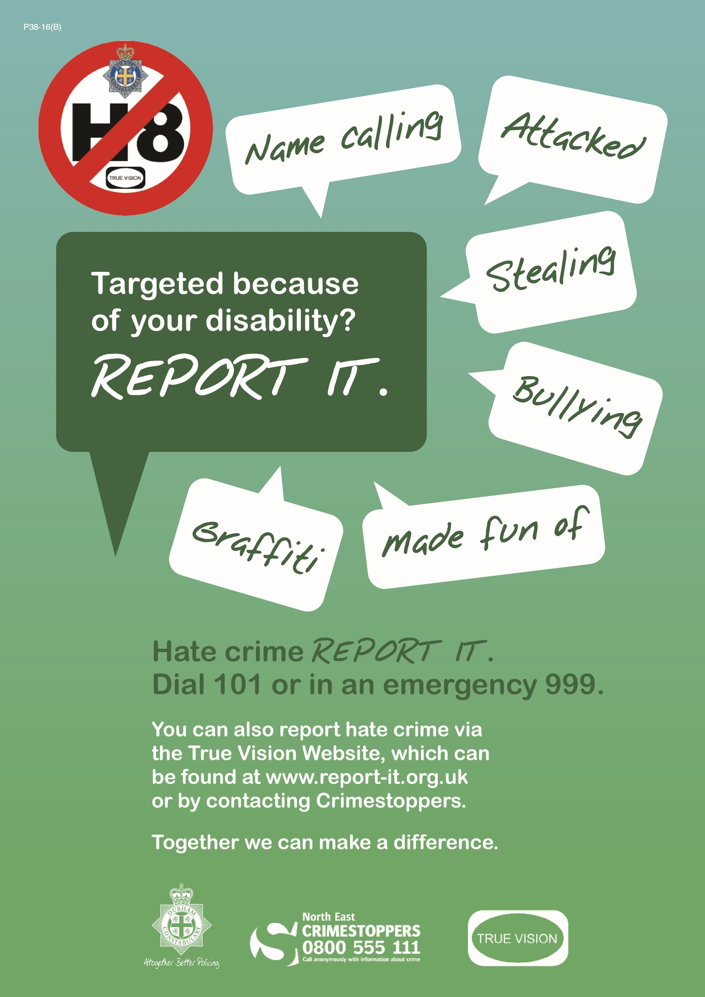 Hate Crime poster issued by Crimestoppers