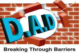 Darlington Association on Disability Logo showing the letters D.A.D. breaking through a wall