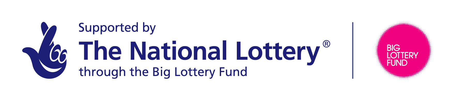 Big Lottery Fund Logo with text saying: Supported by the National Lottery through the Big Lottery Fund